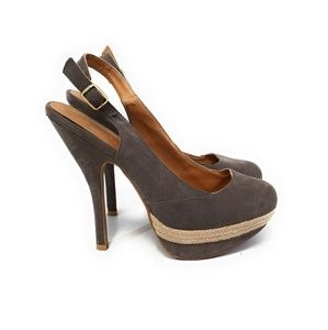 QUPID Women Dark Taupe Gray Platform Pumps Size 8